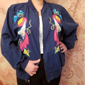 Vintage Embroidered Abstract Retro Jacket (teddi)